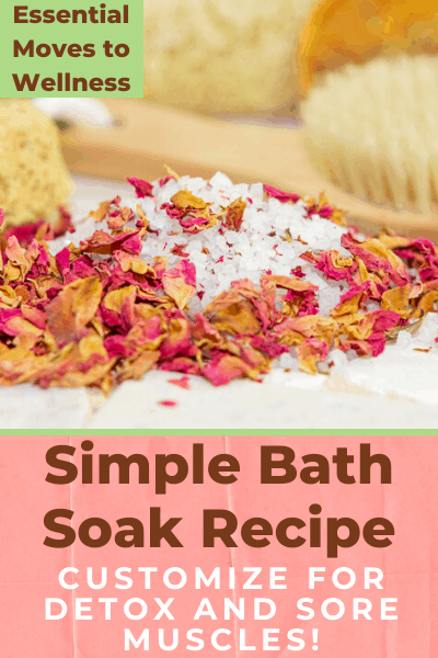 Do a much-needed detox session with this simple bath soak recipe you can try tonight! You can customize it for sore muscles as well. #detoxbath #diybathsalts #soremuscles #relaxingbath