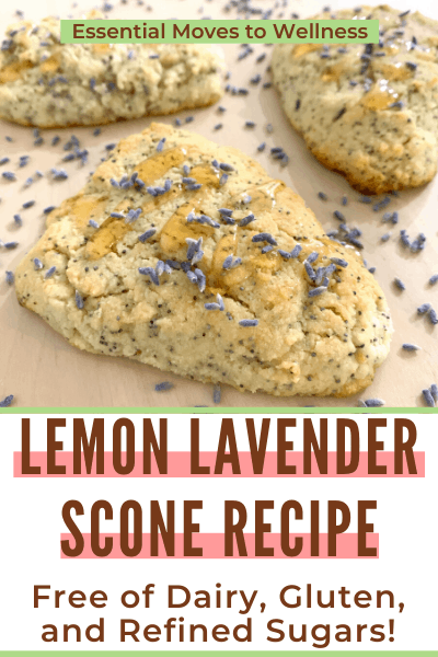 Enjoy a lightly sweet treat this summer with these lemon lavender poppy seed scones! You can customize them to be gluten, dairy, or refined sugar-free. #healthyscones #healthysconerecipe #lemonlavender #poppyseedscone